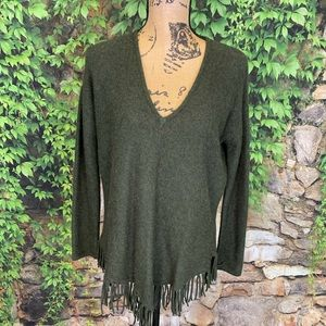 ACROBAT Fringed Wool/Cashmere Blend Sweater, XS